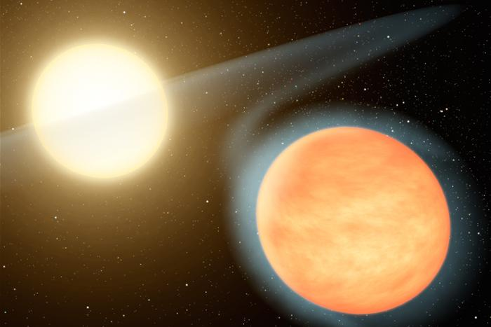 De koolstofrijke gasreus WASP 12b gloeit door de hoge temperatuur oranje op.
