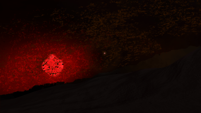 Het schijnsel van Nemesis door het Oortwolk-puin. Het kleine lichtpuntje in het centrum is de zon.