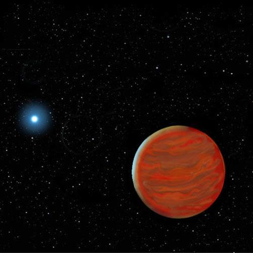 Een bruine dwerg in een baan om een witte dwerg. Bron: Gemini Observatory