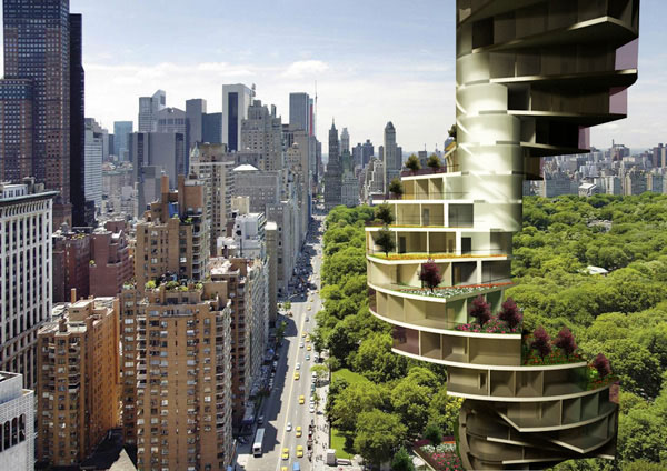 Zelfs in hartje stad biedt de Stairscraper een ruime eigen tuin.