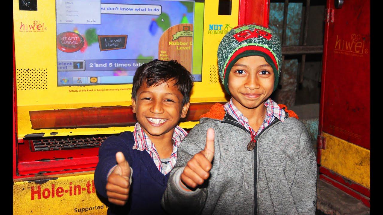 De 'hole-in-the-wall' biedt kinderen in sloppenwijken nu toegang tot computers. Met opmerkelijk positieve resultaten.