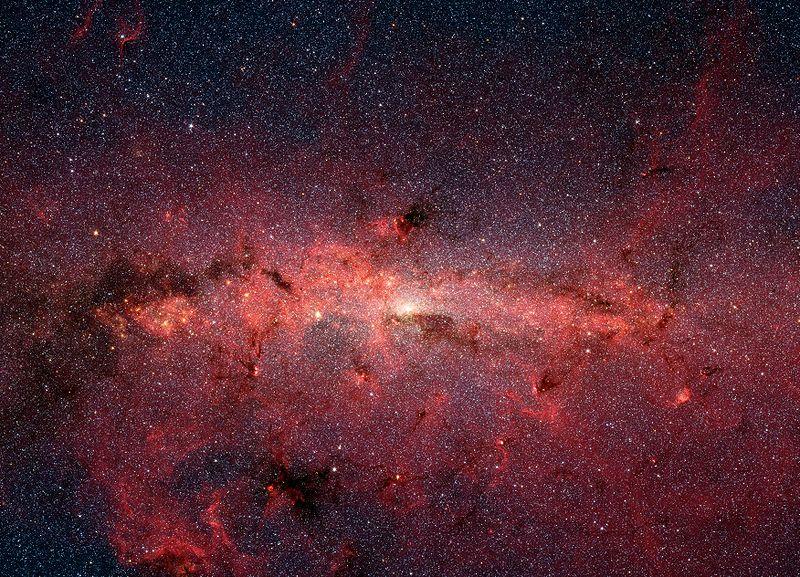 Het centrum van de Melkweg, gefotografeerd door de IR-telescoop Spitzer.