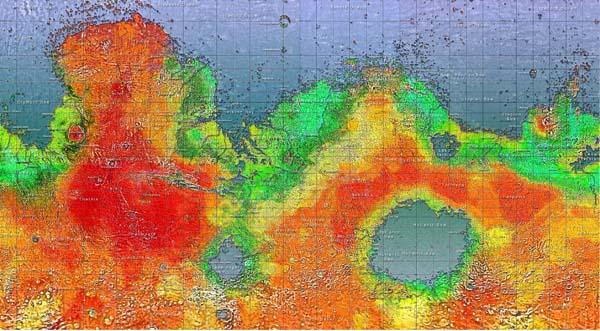 Zo zal de wereldkaart van Mars er vermoedelijk uitzien.