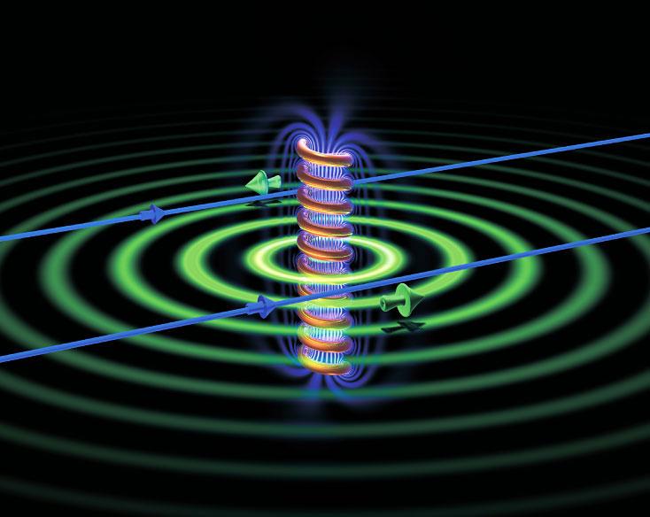 Zelfs als je een allesblokkerende supergeleider om deze spoel zet, blijft de spookachtige invloed bestaan.