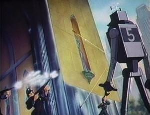 Dit soort plaatjes van op hol geslagen robots waren erg populair in de SF van de jaren vijftig.