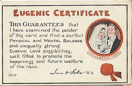 Amerikaans kaartje uit 1912. Eugenetica was in die tijd hot.