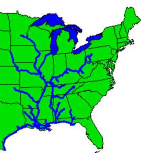 Een enorm netwerk van kanalen en rivieren vormt de levensader van de VS.