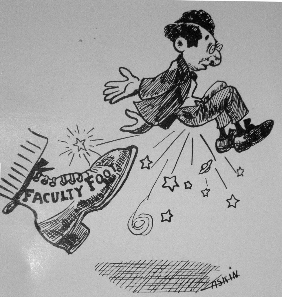Spotprent uit 1909 van een ontslagen universiteitsmedewerker.