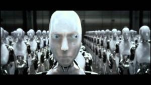 De film I Robot, gebaseerd op het gelijknamige boek van SF-grootmeester Asimov, verkende de sociale en ethische gevolgen van bewuste kunstmatige intelligenties.