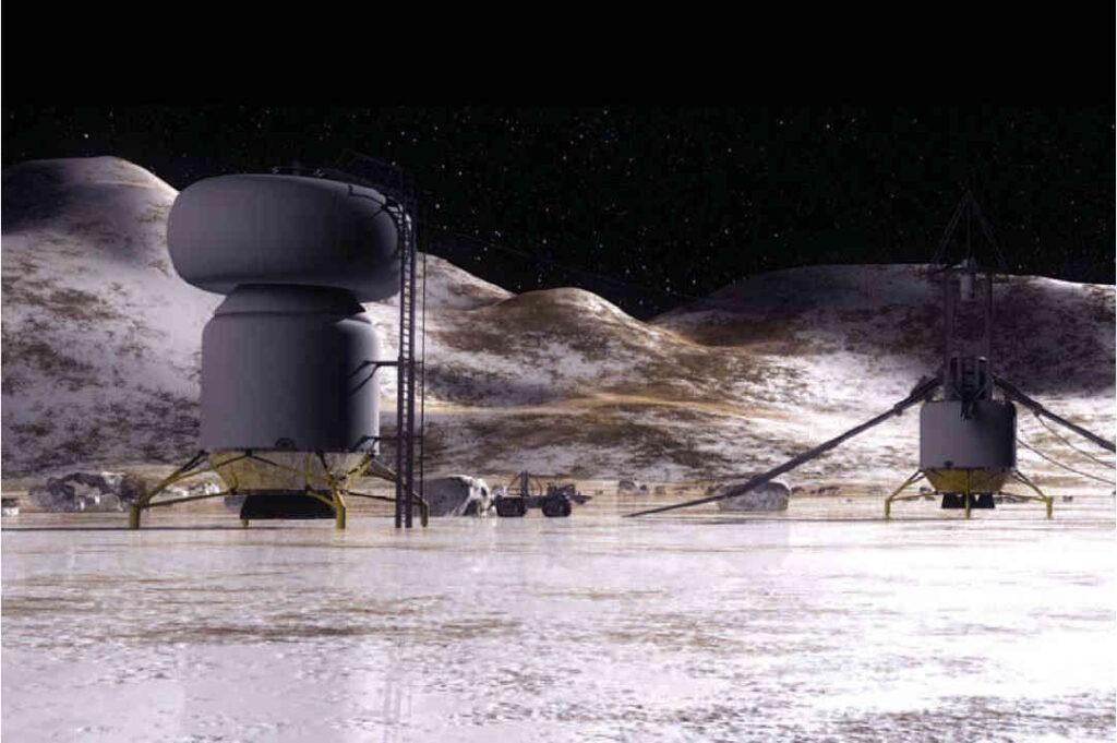 Artist impression van een basis op één van de gastvrijere maanen van Jupiter: Callisto. Bron: NASA