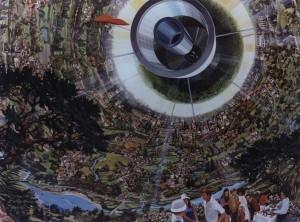 Het binnenste van een Bernal sfeer. in feite is een zwevende ruimtekolonie al een kolonieschip. Er hoeft alleen een motor aan gebouwd te worden.