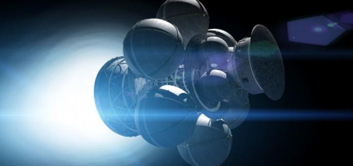 Het conceptruimteschip Icarus met fusieaandrijving, dat de interstellaire leegte zou kunnen bereizen. - Icarus Interstellar