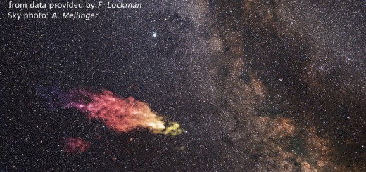 Dit object, hier in valse kleuren geprojecteerd over de sterrenhemel, botst met de Melkweg over 30 miljoen jaar.