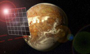 Conceptversie van Breakthrough Starshot. De vier rode laserbundels op de hoeken worden gebruikt voor communicatie met de aarde. Bron: Universiteit van Puerto Rico/Arecibo Observatory