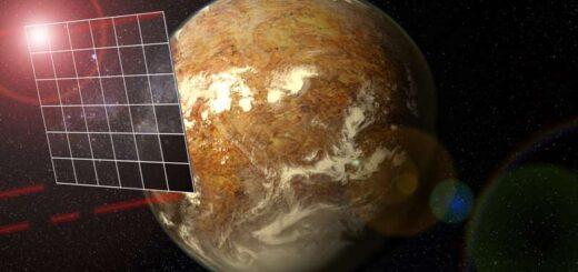 Conceptversie van Breakthrough Starshot. De vier rode bundels worden gebruikt voor communicatie met de aarde. Bron: Universiteit van Puerto Rico/Arecibo Observatory
