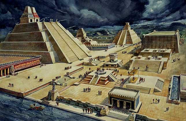 Tenochtitlán (het huidige Mexico Stad),voordat de conquistador Córtez aan zijn genocide begon.