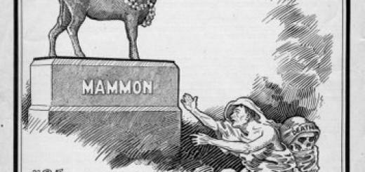 Mammon, de god van het geld in de tijd van Jezus, duikt vaak op als afgod in christelijke traktaten.