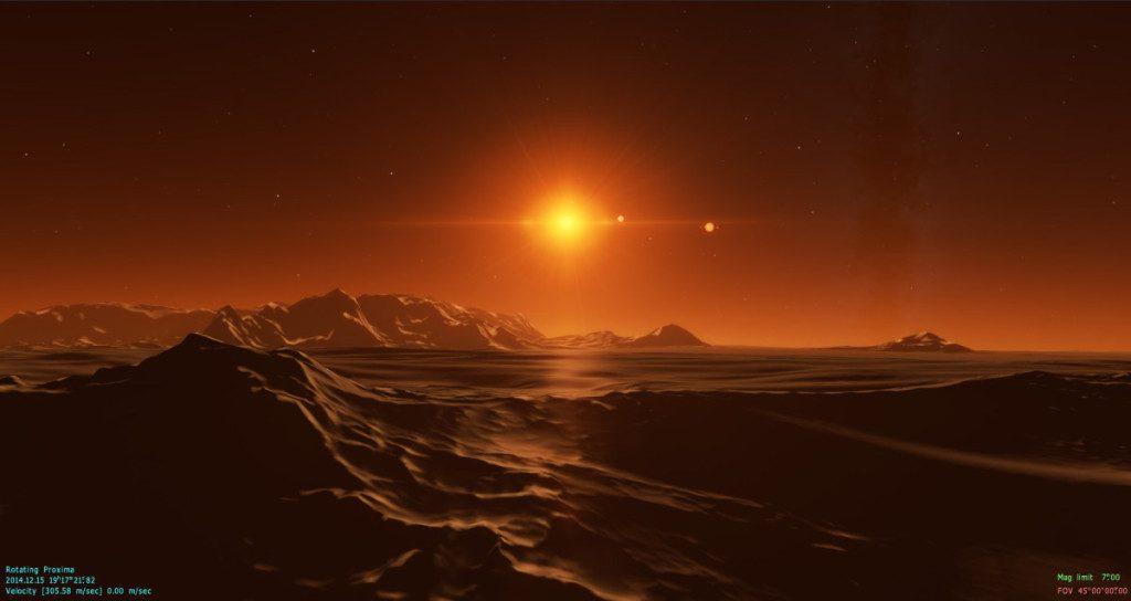 Computergegenereerd beeld van de koude woestijn van proxima Centauri b. Bron: SpaceEngine