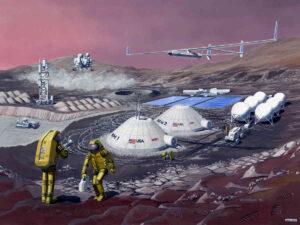 Een van de vele plannen van NASA voor een basis op Mars.