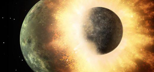 Protoplaneet met de grootte van de maan botst met een protoplaneet, zo groot als Mercurius. Bron: NASA/Caltech