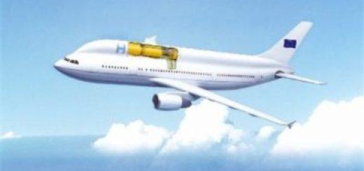 Ontwerp van een jetliner op waterstof. De enorme waterstoftank neemt veel ruimte in beslag. Bron HyperSolar