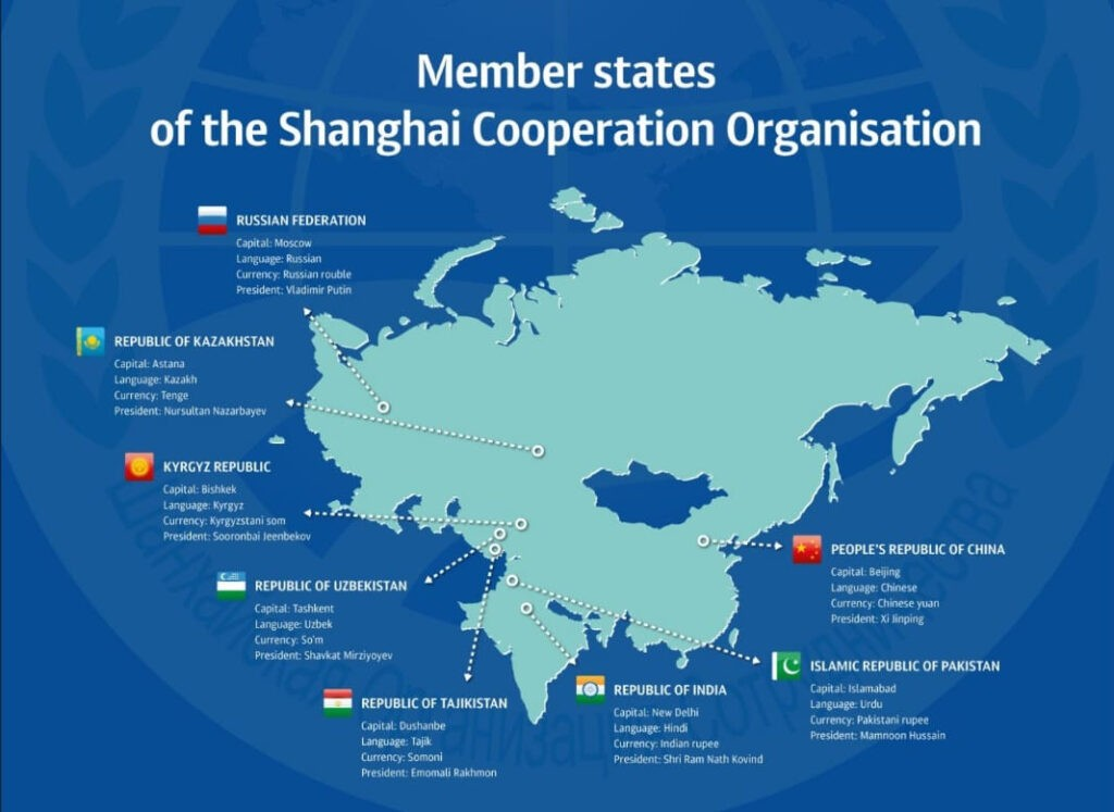 De leden van de Shanghai Cooperation Council beheersen nu al het grootste deel van Eurazië, zowel qua oppervlak als bevolking. Bron: SCC