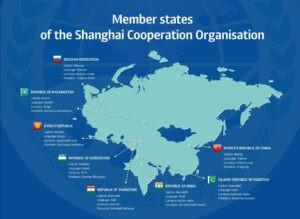 De leden van de Shanghai Council beheersen nu al het grootste deel van Eurazië, zowel qua oppervlak als bevolking. Bron: SCC