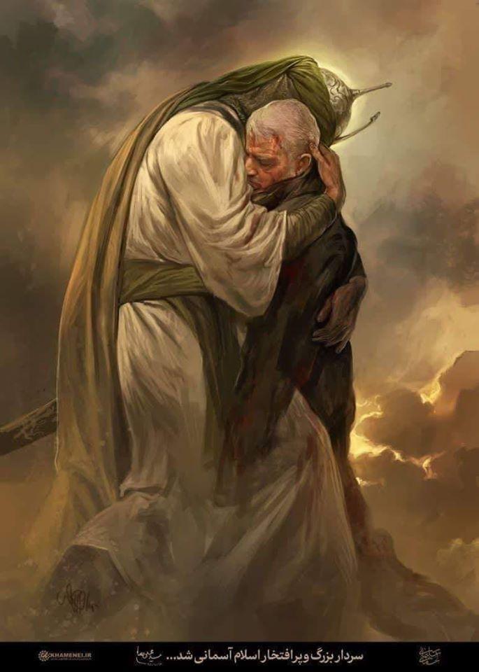 Iraanse herdenkingsprent, waarbij de martelaar Soleimani wordt opgehaald door de islamitische doodsengel Israfil. In werkelijkheid was de man verre van een heilige en verantwoordelijk voor de dood van duizenden mensen. Bron: Islamitische Republiek Iran