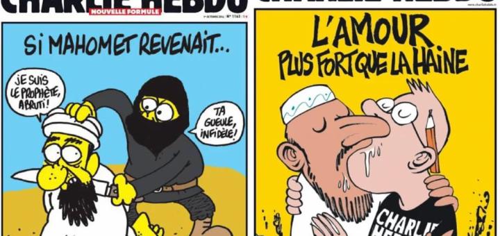Enkele subtielere cartoons van Charlie Hebdo waarin de veronderstelde uitvinder van de islam, de koopman Muhammad ibn Abdullah, wordt afgebeeld. Bron/copyright: Charlie Hebdo Magazine