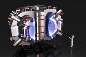 SPARC, het nieuwe MIT-experiment is veel kleiner dan de enorme reactor ITER, maar moet door de sterkere magnetische velden toch goede resultaten kunnen bereiken. Bron/copyright: MIT
