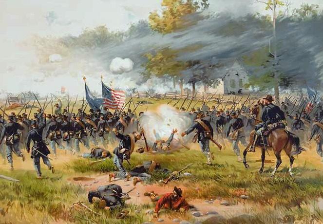Volgens sommige waarnemers wordt een burgeroorlog in Usa steeds waarschijnlijker. Bron: Battle of Antietam, Thulstrup (public domain)