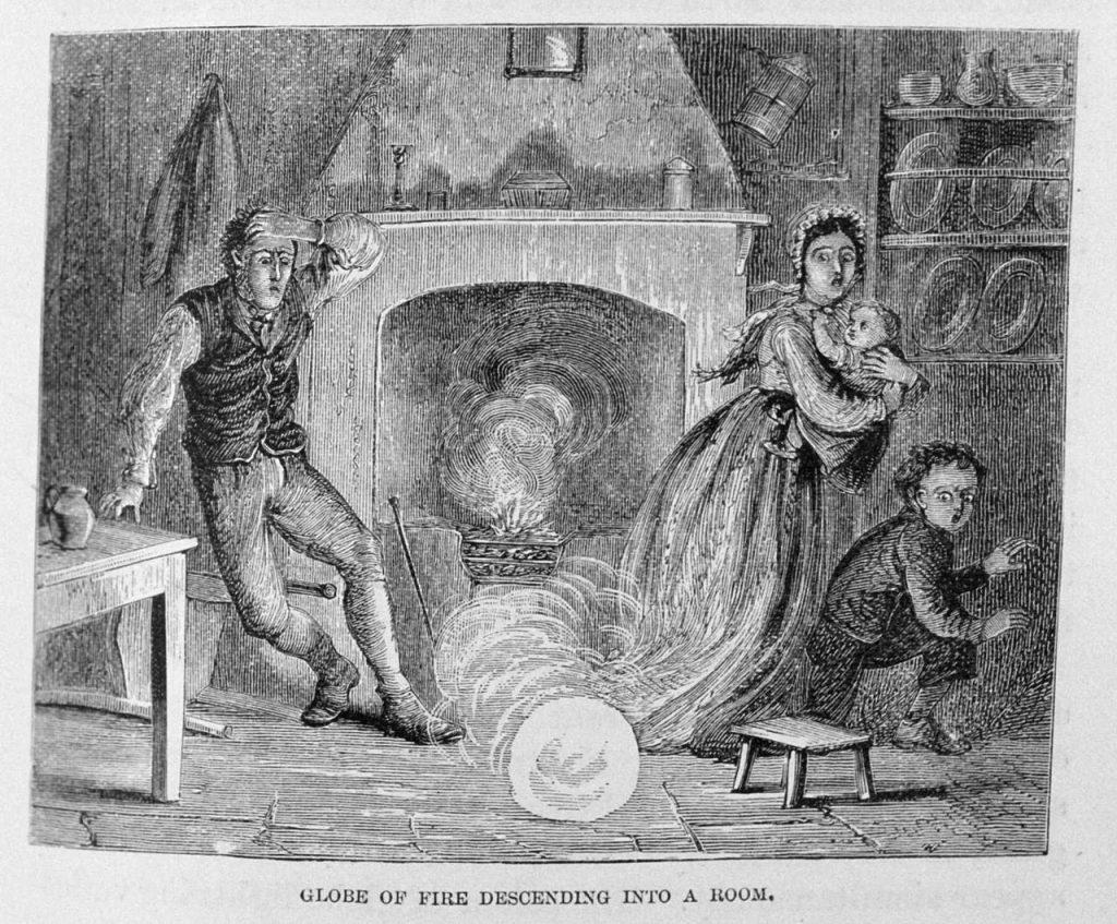 Bolbliksem schrikt familie op. Dr. G. Hartwig, gravure uit 1886, Wikimedia Commons