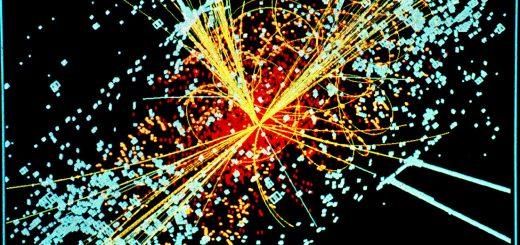 Extreem energierijke botsingen, zoals deze waarbij een Higgsdeeltje betrokken was, zijn veel te sterk om lichte deeltjes te kunnen vinden, Bron: Wikimedia Commons/Lucas Taylor (CERN)