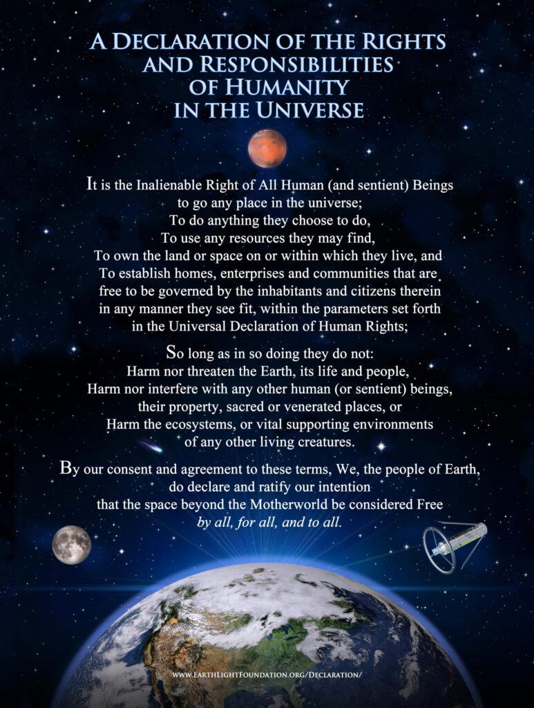 Een mooie inspiratie voor toekomstig ruimterecht: de declaratie van de Earthlight Foundation