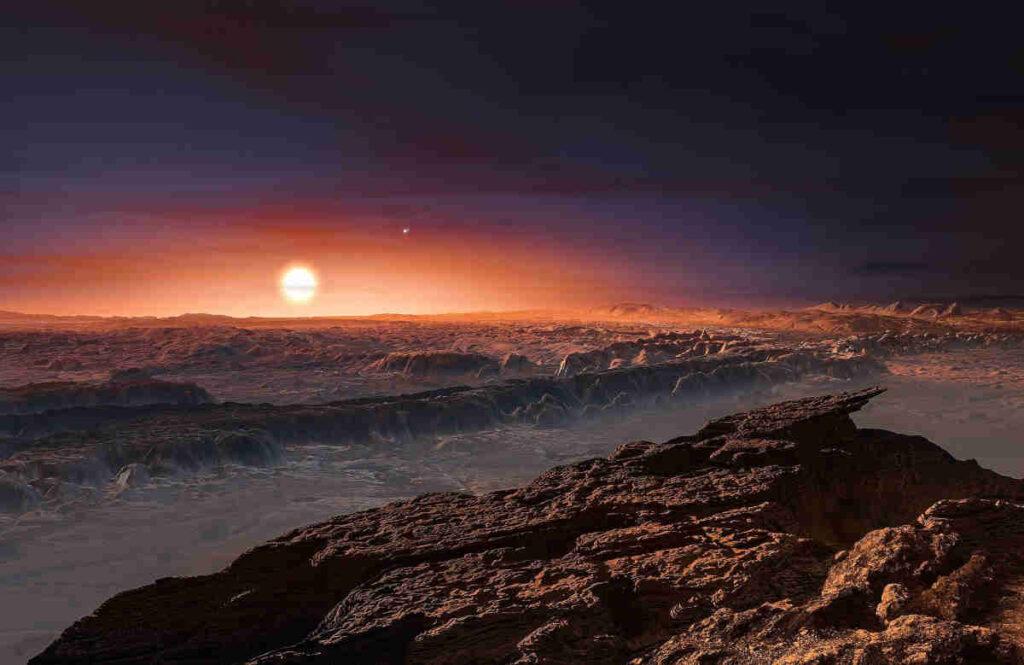 Artist impression van het landschap op Proxima Centauri b. Bron: ESO/M. Kornmesser