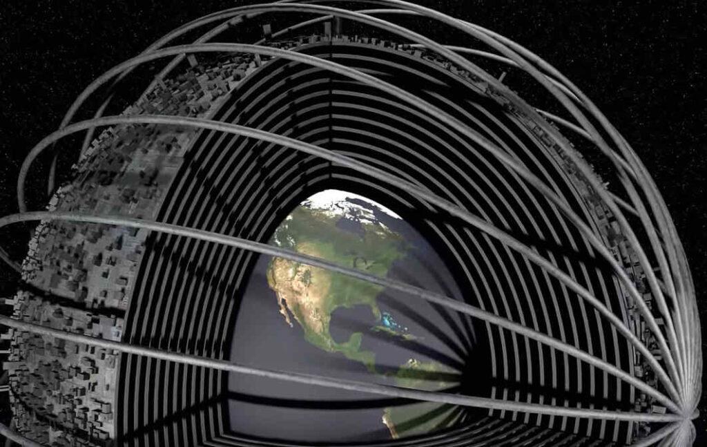 De matroesjka-wereld vergroot het aardoppervlak vele malen. Maar hoe veilig is deze toekomstige superstructuur? Bron: screenshot uit bijbehorende video/Isaac Arthur/fair use provision