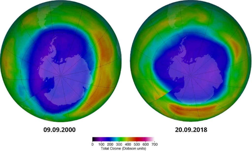 De ozonlaag herstelt zich redelijk. helaas gooien nieuwe emissies uit China roet in het eten. Bron: EU/EEA