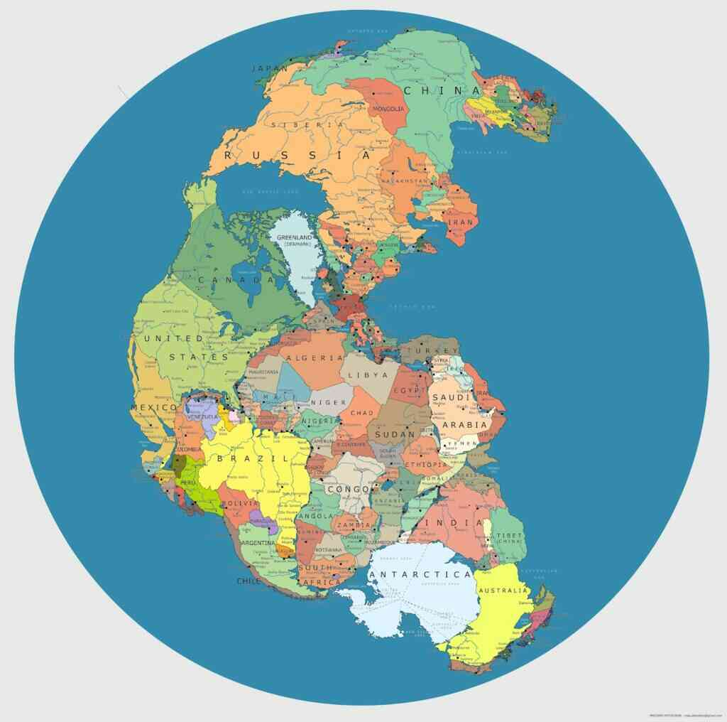Pangea, met de lokatie van bekende staten nu. Bron: Massimo Pietrobon/Wikimedia Commons