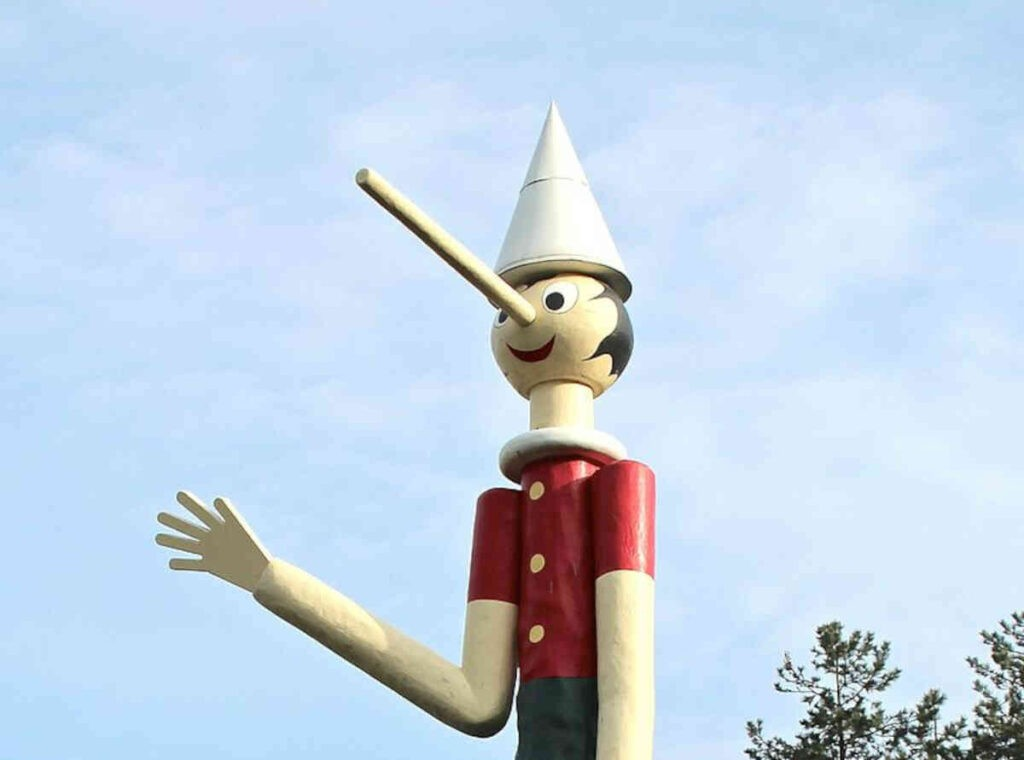 Mag liegen? Bij de pop Pinokkio werd de neus langer, als deze loog.