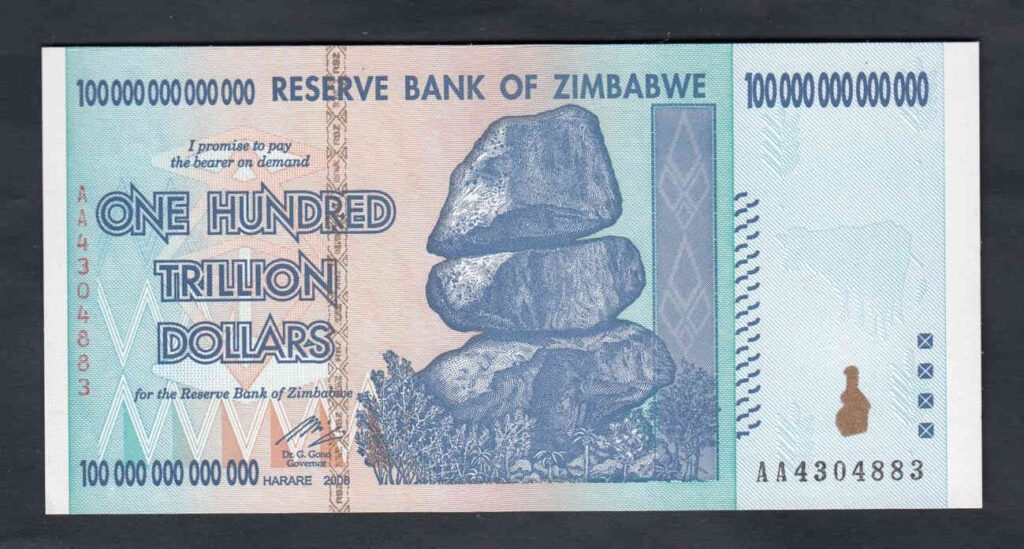 Iedere Zimbabwaan was op een gegeven moment multibiljonair. Erg veel plezier haddne ze er niet van, met dit biljet konden ze nauwelijks voedsel kopen.