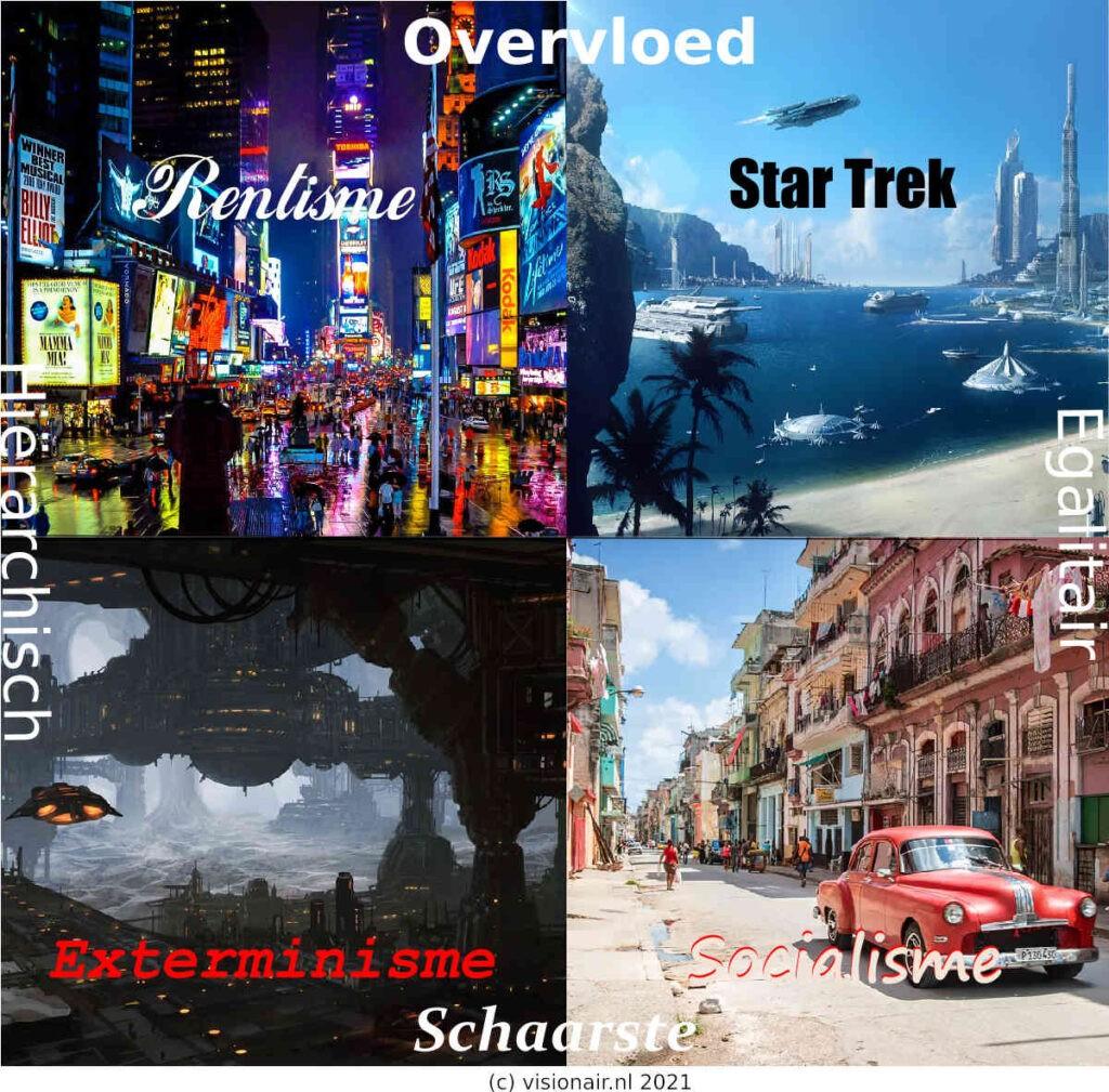 De vier toekomstige maatschappijen. Gaat de wereld richting een Star Trek economie, en rentistische maatschappij, exterminering van de onderklasse of socialisme? Bron/copyright: Visionair.nl