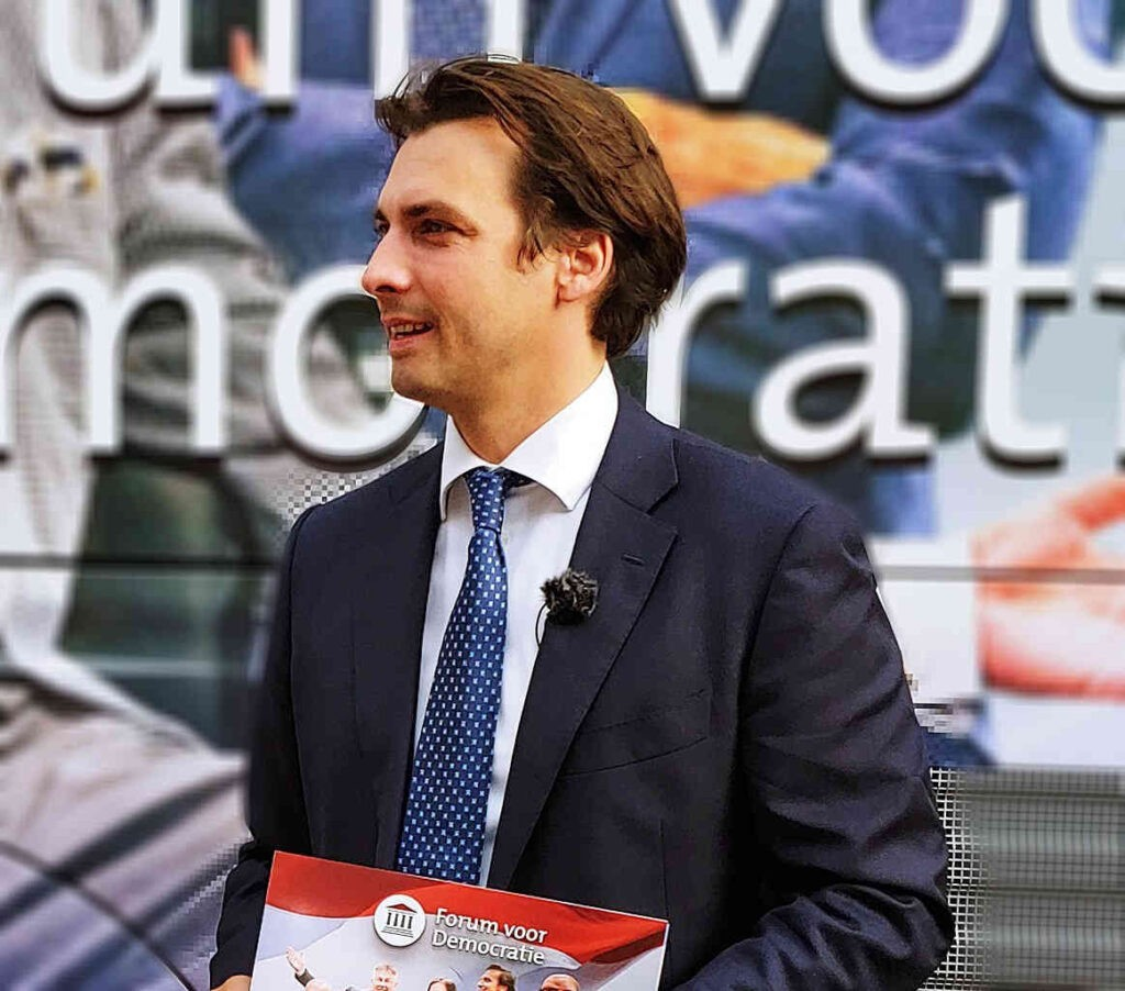 De lijsttrekker van Forum voor Democratie, Thierry Baudet, wil een eigen land beginnen. Forumland.